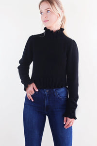Black Ruffle Mock Neck Sweater