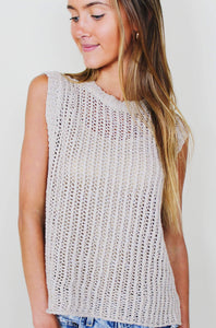 Beige Knit Top with Metallic Detail