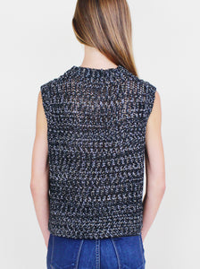 Black Knit Top with Metallic Detail