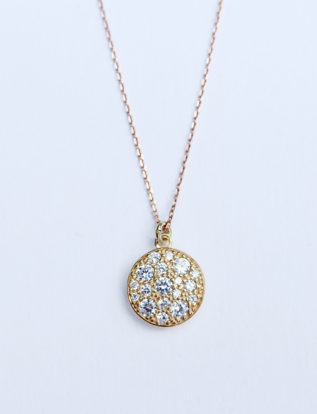 Gold Circle Stones Necklace