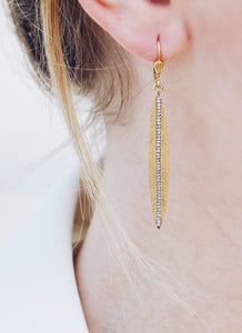 Gold Leaf Earring with Swarovski Crystals