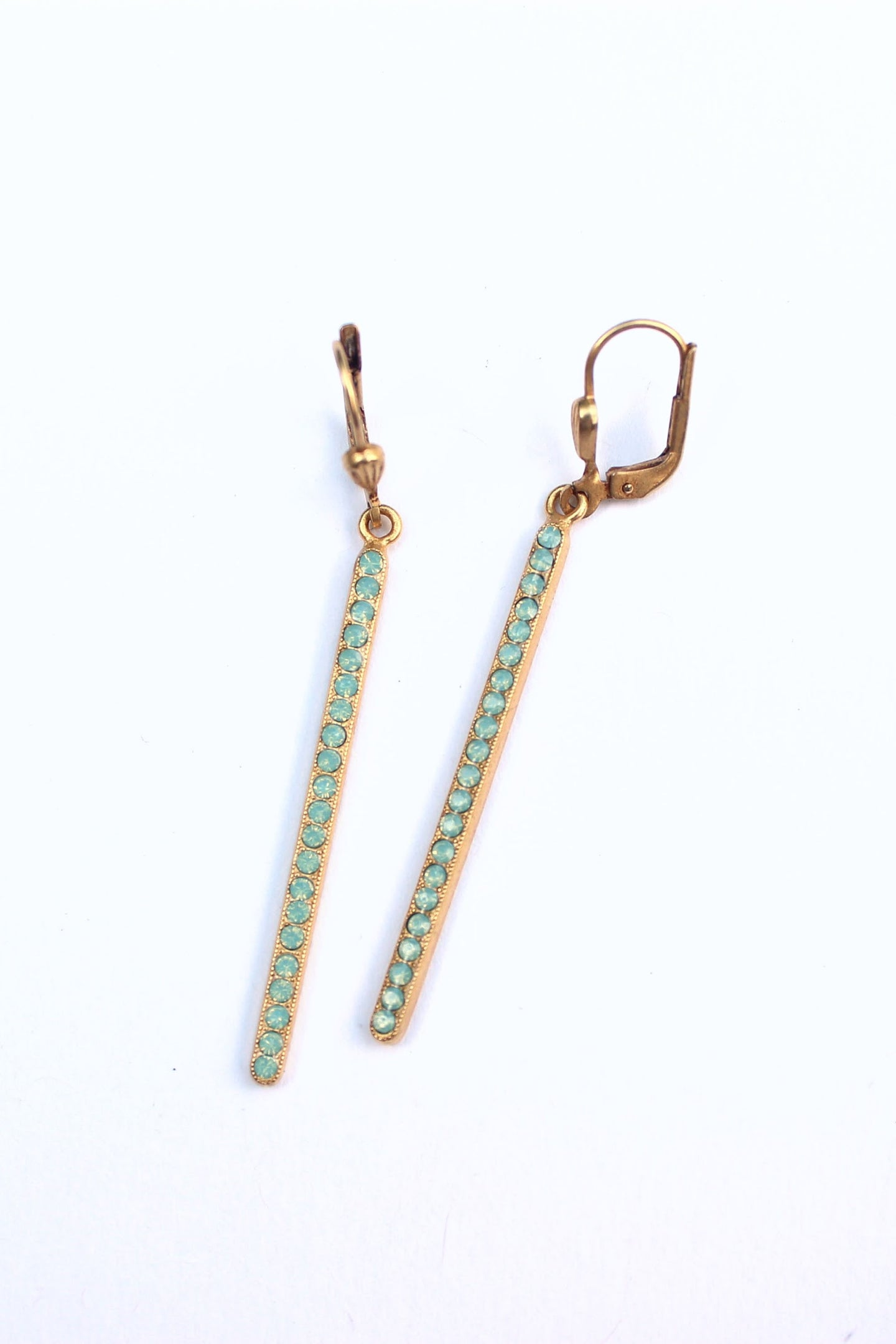 Gold Bar Earring with Light Teal Crystals