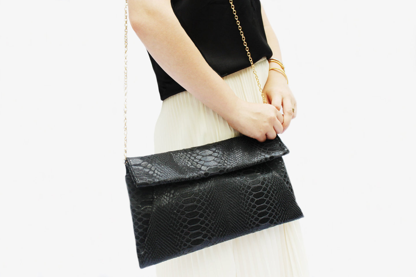 Emilia Black Vegan Leather Clutch
