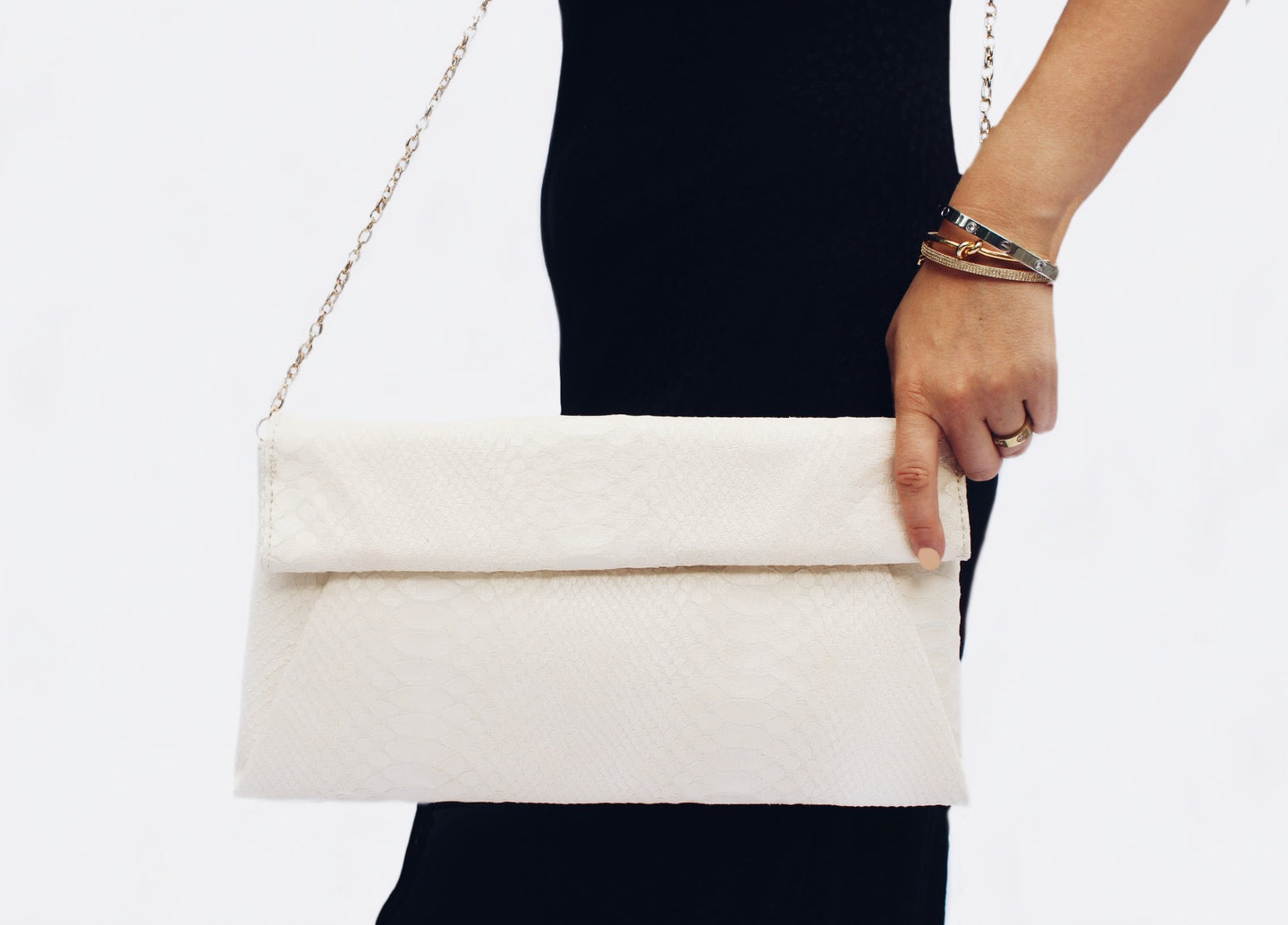 Emilia Cream Vegan Leather Clutch