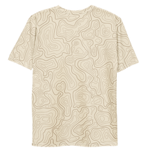 Load image into Gallery viewer, All Over Print T-Shirt - topographical map (beige)