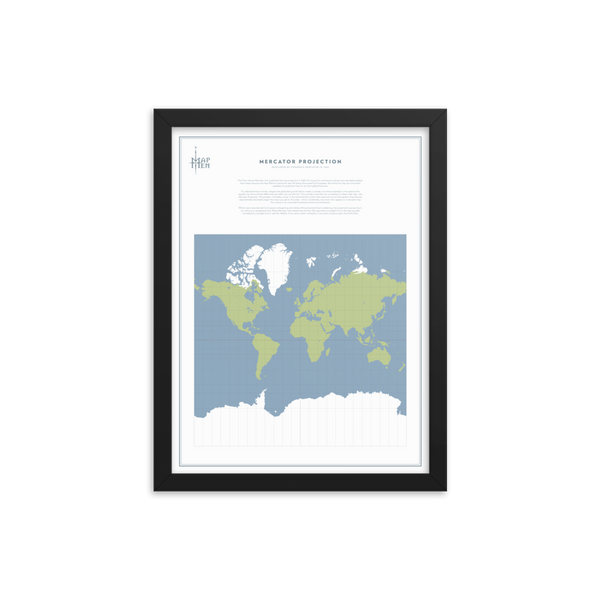 Map Men Framed Map - Mercator Projection