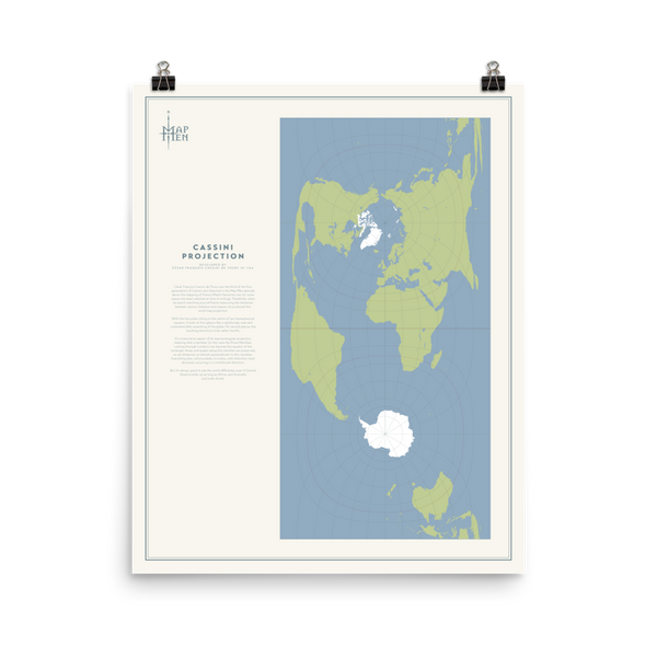 Map Men Poster - Cassini Projection