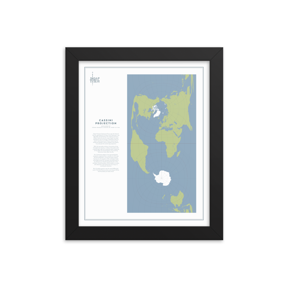 Map Men Framed Map - Cassini Projection
