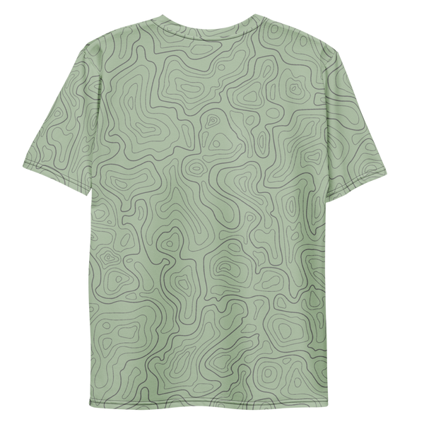 All Over Print T-Shirt - topographical map (green)