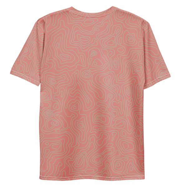 All Over Print T-Shirt - topographical map (pink)