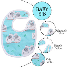 Load image into Gallery viewer, 100% Organic Muslin Cotton Bibs with Three Layers (Sheep Sky Blue)