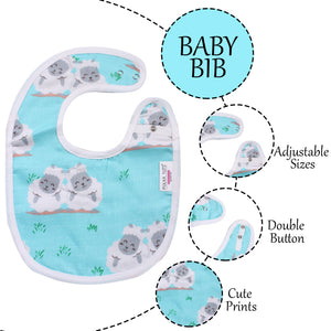 100% Organic Muslin Cotton Bibs with Three Layers (Sheep Sky Blue)