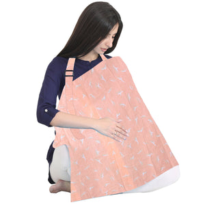 Nursing Feeding Apron Maternity Cover 100% Cotton for Mothers with Carry Pouch (Peach)