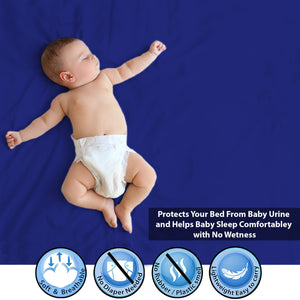 Baby Dry Sheet / Bed Protector Small Blue (Size 50 x 70 CM)