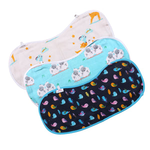 Polka Tots 100% Organic Burp Cloth Muslin Cotton 3 Layer Napkin (Pack of 3) (Design: Bird, Sheep, Deer)