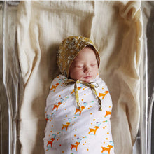 Load image into Gallery viewer, Polka Tots Muslin Swaddle 100% Organic Cotton (Deer)