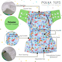 Load image into Gallery viewer, Polka Tots Reusable Cloth Diaper Pants for Babies Washable & Size Adjustable Snap Buttons