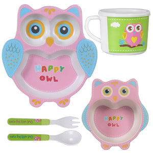 Bamboo Fiber Kids Crockery Set Having 5 Pieces Dinner Set - Eco Friendly Bamboo (Happy Owl)