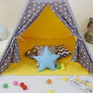 Kids Teepee Tent with Non - Slip Padded Mat Kids Yellow Star