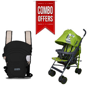 Combo of Zebra Baby Stroller and Baby Carrier