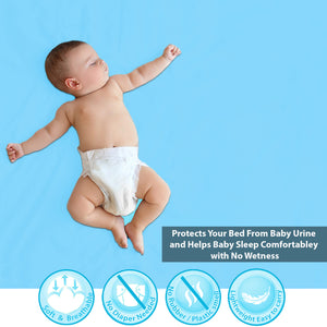 Baby Dry Sheet / Bed Protector Medium Blue (Size 70 x 100 CM)