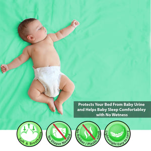 Baby Dry Sheet / Bed Protector Small Mint (Size 50 x 70 CM)