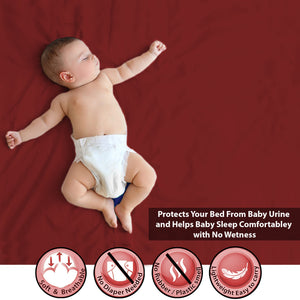 Baby Dry Sheet / Bed Protector Medium Maroon (Size 70 x 100 CM)