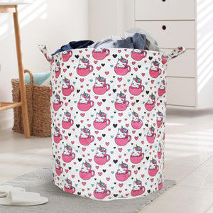 Polka Tots Laundry Bag Canvas Storage Bag Baby Unicorn Print