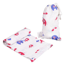 Load image into Gallery viewer, Polka Tots 100% Organic Cotton Swaddle Wrap Reindeer & Elephant Design Large Size 120 x 120 CM (Pack of 2)