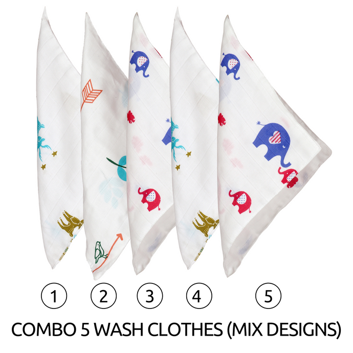 Organic Muslin Cotton Wash Cloth (Pack of 5)