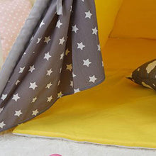Load image into Gallery viewer, Kids Teepee Tent with Non - Slip Padded Mat Kids Yellow Star