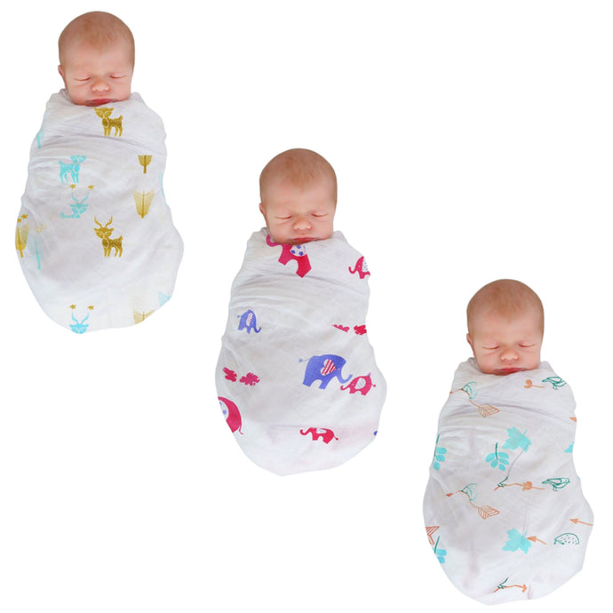 Polka Tots 100% Organic Cotton Swaddle Wrap Bird Design Large Size 120 x 120 CM (Pack of 3)