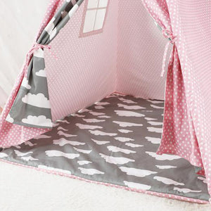 Kids Teepee Tent with Non - Slip Padded Mat Kids Pink Cloud