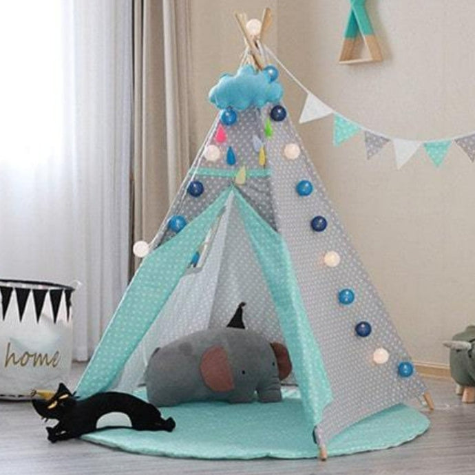Kids Teepee Tent with Non - Slip Padded Mat Kids Green Polka