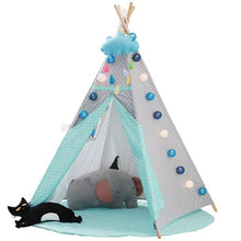 Load image into Gallery viewer, Kids Teepee Tent with Non - Slip Padded Mat Kids Green Polka