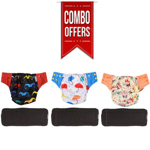 Combo of Bamboo Charcoal Reusable Cloth Diapers Cow, Umbrella and Mustache