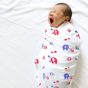 Polka Tots 100% Organic Cotton Swaddle Wrap Reindeer & Elephant Design Large Size 120 x 120 CM (Pack of 2)