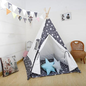 Kids Teepee Tent with Non - Slip Padded Mat Kids Grey Star
