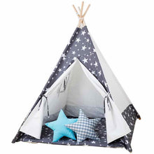 Load image into Gallery viewer, Kids Teepee Tent with Non - Slip Padded Mat Kids Grey Star