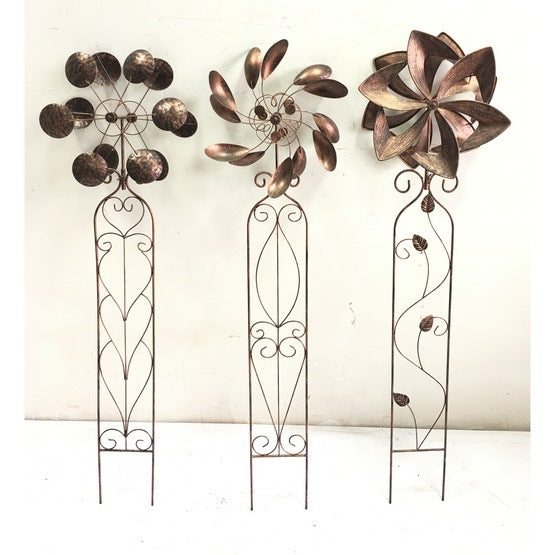 WIND SCULPTURE - TRIO OF FLOWERS - BY OMNI