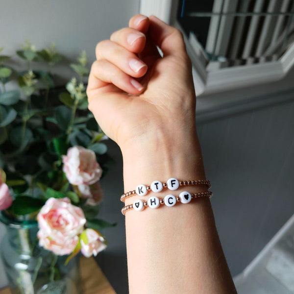 Ivy and Gold bracelets personalised with Keep The Faith Zoe Wilson