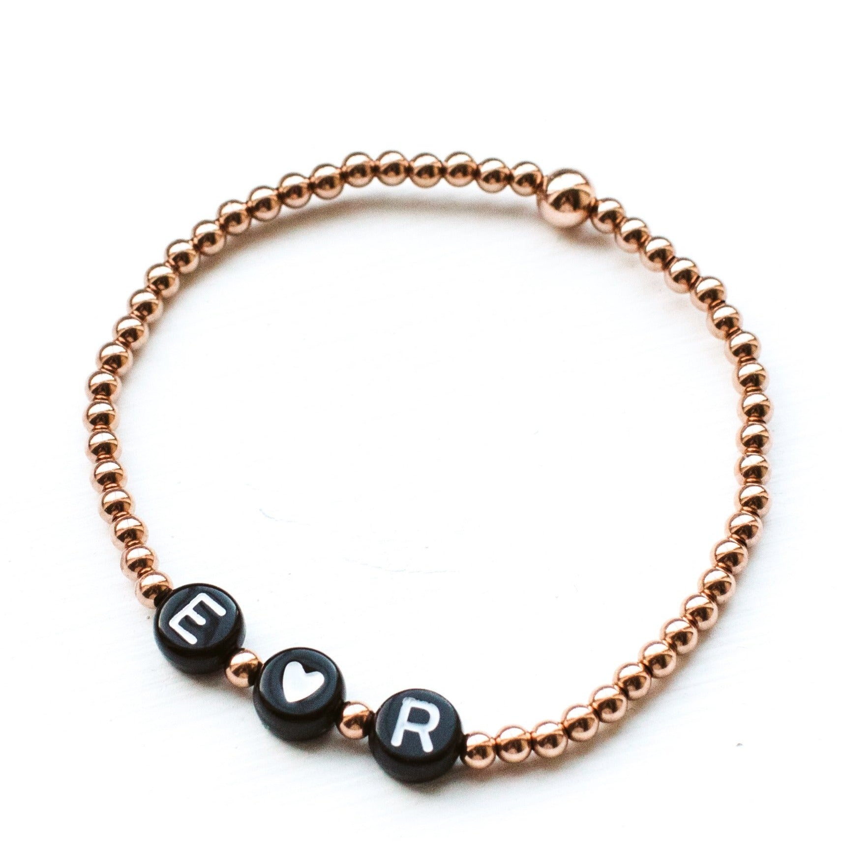 Rose Gold Filled Name Bracelet - Black
