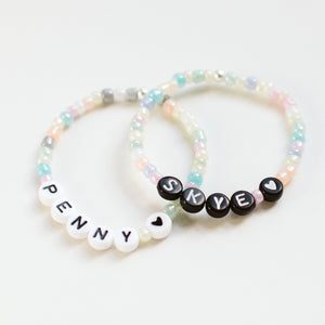 Children's handmade personalised name bracelet
