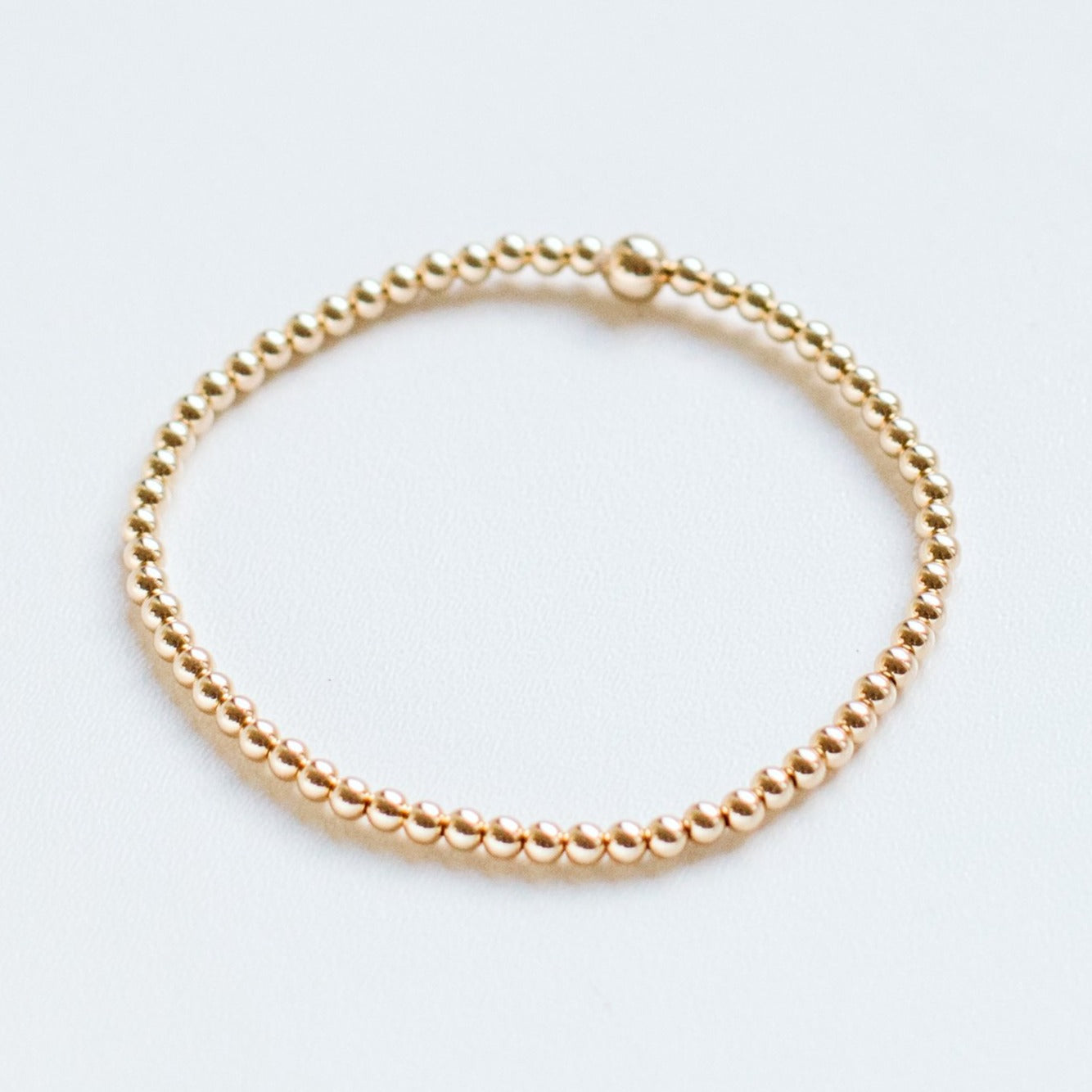 Handmade 3mm gold-filled bead stacking bracelet