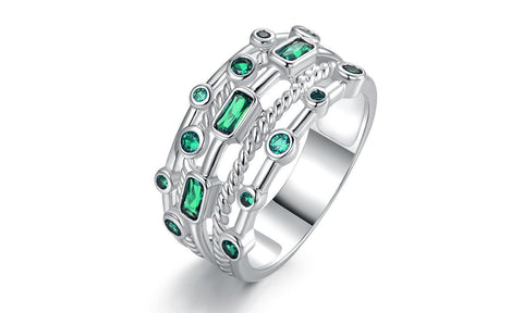 Gold Plated 5 Layer Emerald Ring