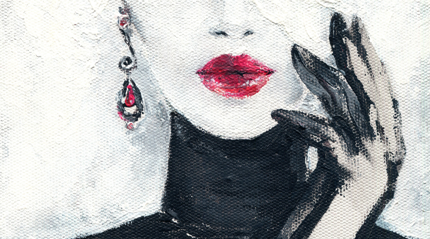 Brokedown Luxury Moissanite Jewelry Collection, painting of woman wearing lipstick