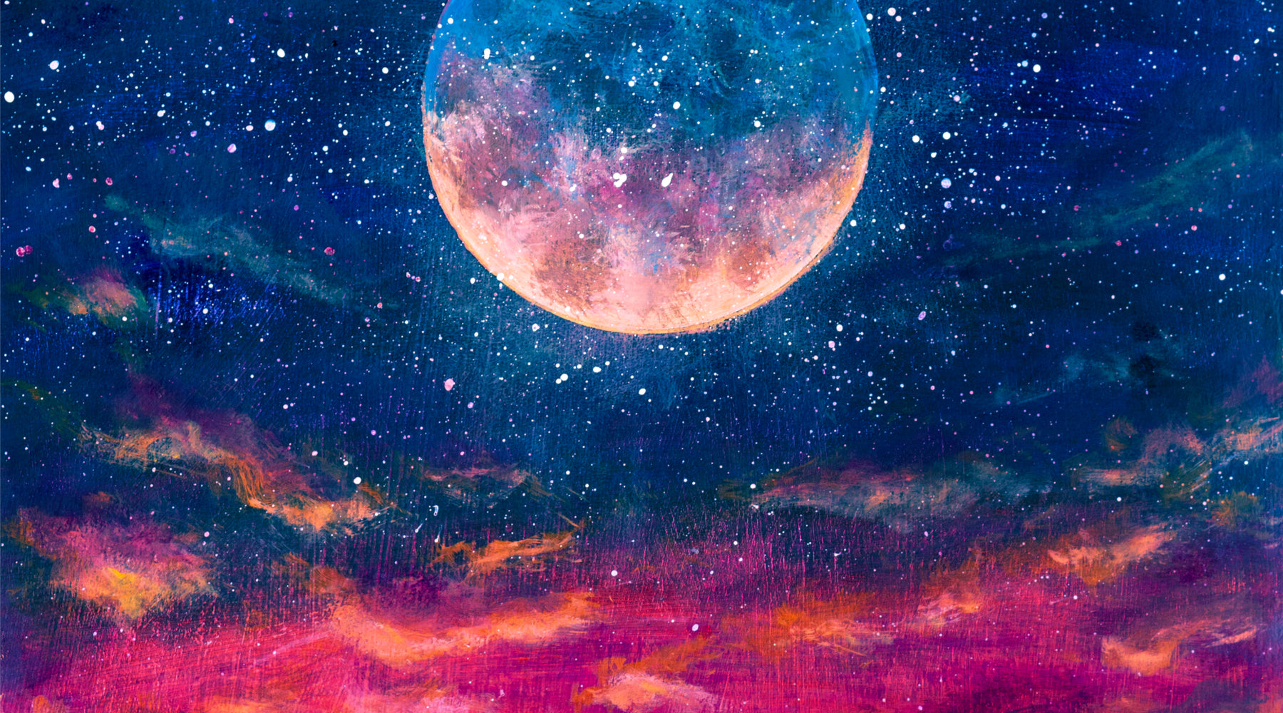 Painting of moon in night sky.