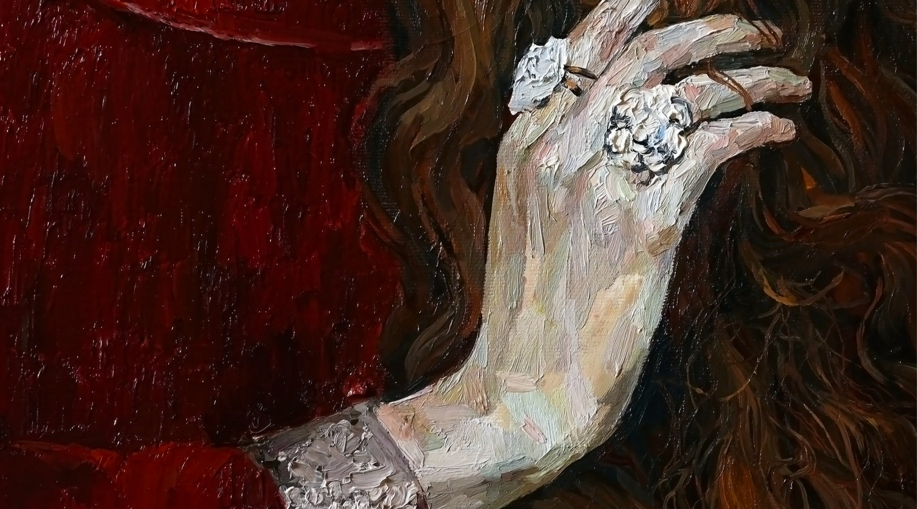 Painting of woman's hand with diamond ring.