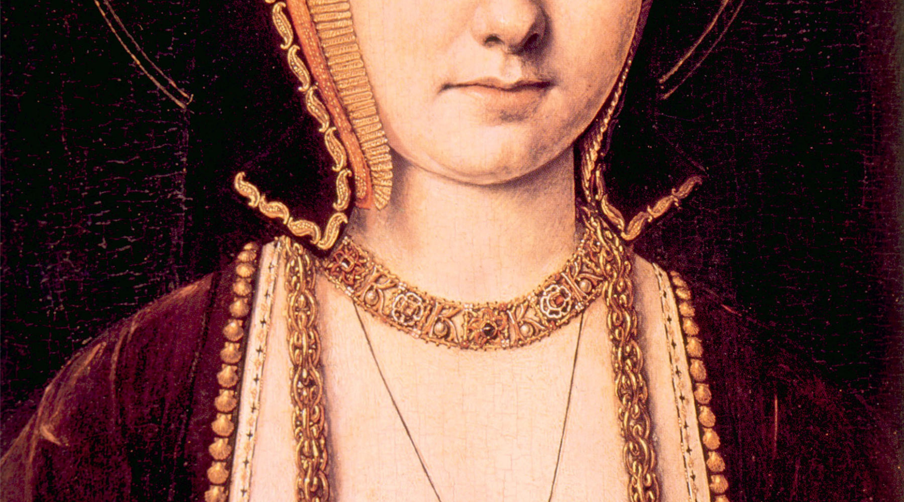 Painting of Catherine of Aragon partial view.