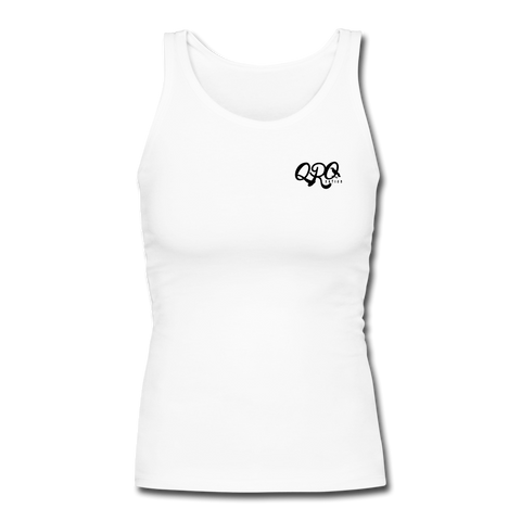 "Women's Qronation "" Clean or Cream"" Longer Length Fitted Tank - white"
